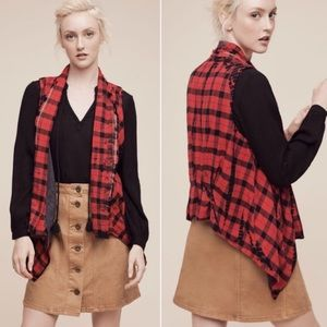 Anthro Elevenses Roxanne Plaid Waterfall Vest